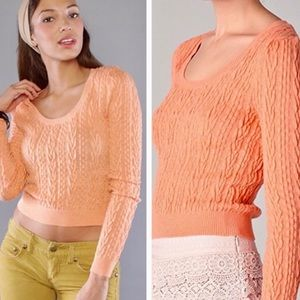 Free people cropped cable guy sweater NWT
